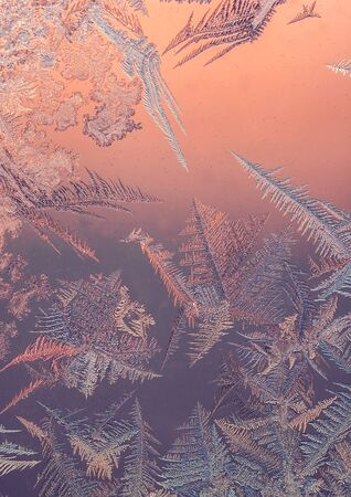 frost. wonderful winter patterns on glass at sunset. 스톡 콘텐츠