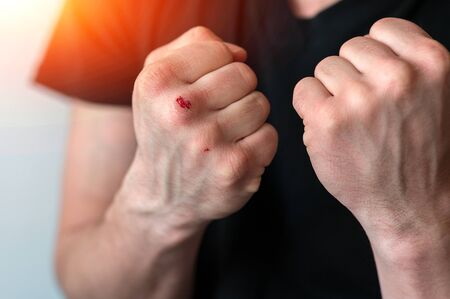 boxing fists with blood close up. motivation in boxing.