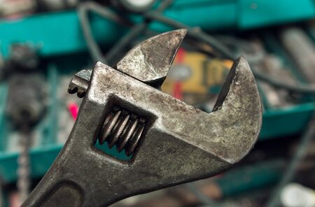 construction tool, wrench close-up. tool and fixtures.