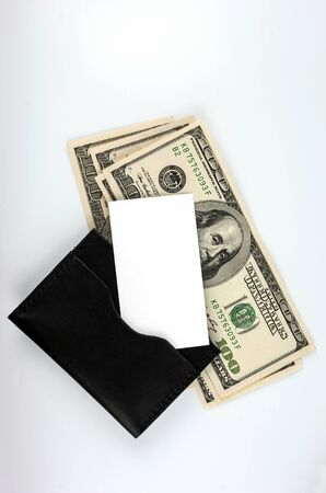 wallet with dollars, gold card and clean business card isolated. place for your text. concept. Foto de archivo