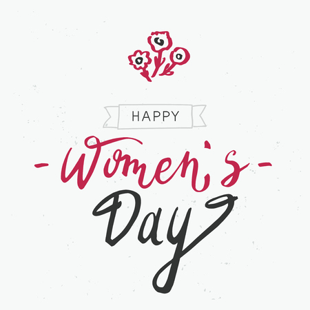 Hand lettering art Happy womens day with flowers on the white background. International women`s day invitation design. Vector illustration.