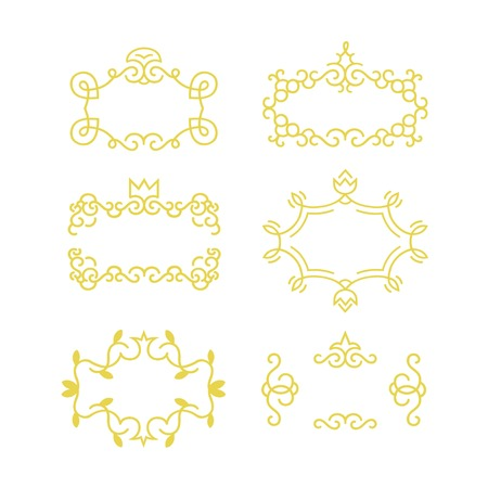 Floral frame set made in modern line style vector. The geometry of the thematic lines, curves, intersections of lines, spiral elements of the same thickness.