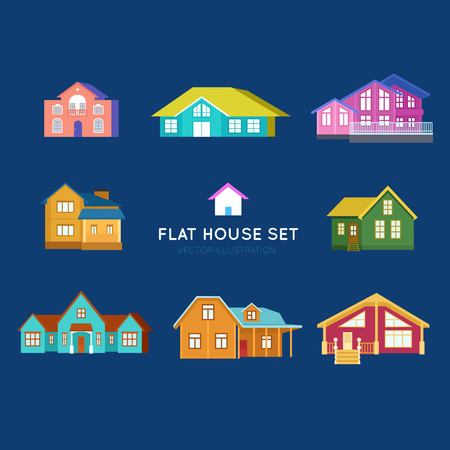 Set of vector cartoon houses - color building exteriors for infographics, web and print. Banque d'images - 115093751