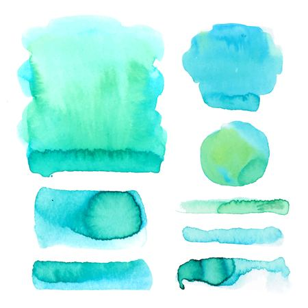 Set of watercolor hand drawn brush strokes in blue and green colors on white background in vector. Abstract stains and blobs collection for buttons, banners and backgrounds. Banque d'images - 115044751