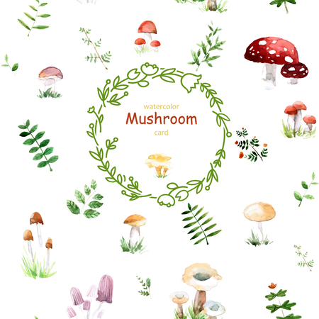 Watercolor card with cute mushrooms and leafs in awesome colors. Bright forest concept card with place for text in vector. Banque d'images - 115044754