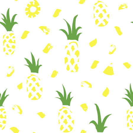 Hand drawn seamless pattern with pineapples and abstract brush strokes. Abstract tropical design. Vector summer fruit background. Banque d'images - 115044759