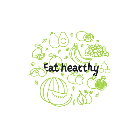 Fruit vector circle in trendy linear style - healthy lifestyle illustration for print, web. Banque d'images - 115030434