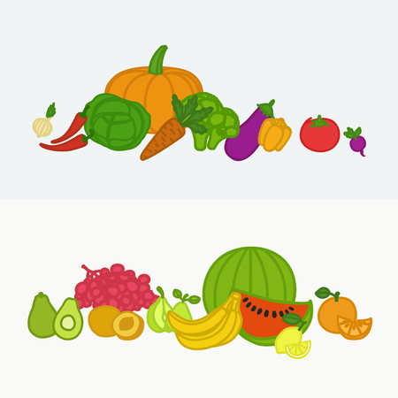 Vector collection of fresh healthy fruits and vegetables made in flat style. Diet design banners. Banque d'images - 115030435