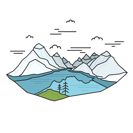 Blue lake with mountains in the background made in linear style. Abstract Nature Scene. Travel concept. Vector. Banque d'images - 115030437
