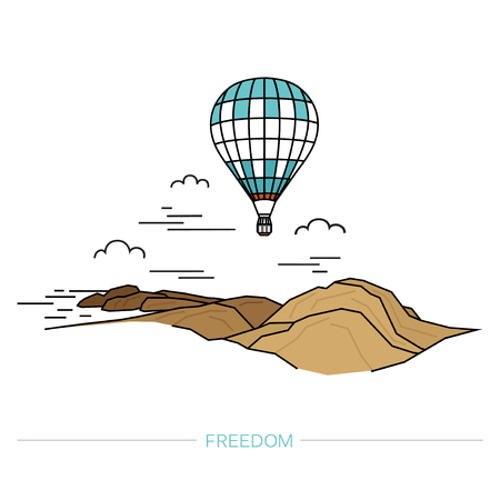 Hot air balloon in clouds on a background of mountains. Travel concept. Illustration in flat linear style. Vector.