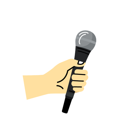 Hand holding a microphone isolated on a white background - simple icon design template for breaking news, musicians and infographics.