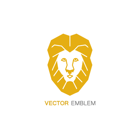 Logo design template in flat line style - lion with mane in the shape of a shield - protective symbol.
