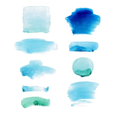 Set of watercolor hand drawn brush strokes in blue and green colors on white background in vector. Abstract stains and blobs collection for buttons, banners and backgrounds. Banque d'images - 111967801
