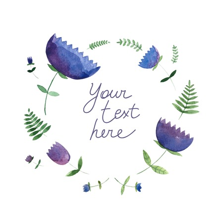 Lovely romantic card with spring flowers and textbox. Awesome flowers and leaves made in watercolor technique. Ideal for wedding invitation. Save the date card.