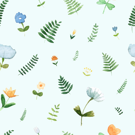 Floral seamless pattern with spring flowers and leafs made in watercolor technique. Bright romantic background with cute flowers in vector. Banque d'images - 125819985