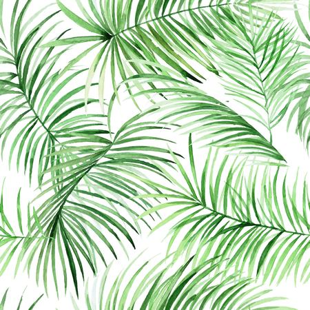 Watercolor palm leaves pattern in vector. Tropical packground for your design. Banque d'images - 111884608