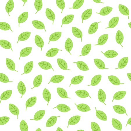 Simple seamless pattern with leaves made in linear flat style on white background. Green illustration for packaging, print, blog background, textile. Banque d'images - 111716596
