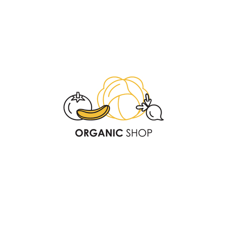 Logo design template in line icon style for organic products, food and farmer. Vegetables symbols - tomato, radish, cucumber and cabbage. Natural, organic and vegan elements. Çizim