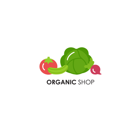 Logo design template in flat icon style for organic products, food and farmer. Vegetables symbols - tomato, radish, cucumber and cabbage. Natural, organic and vegan elements. Çizim