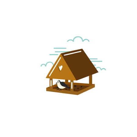 Simple illustration of birdhouse with bird in flat style. Nature gardening symbol in vector. Иллюстрация