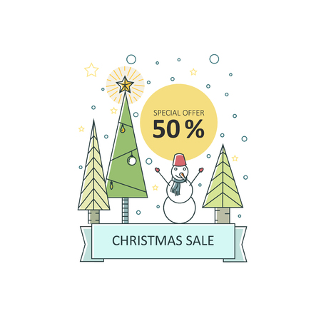 Merry Christmas - vector flat line illustration with christmas trees and snowman. Perfect for shops and shopping centers, e-mail newsletters, web banners, and commerce sale decoration. Banque d'images - 108848717