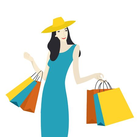 Happy summer girl with purchases after shopping - flat style illustration - Sale concept. Banque d'images - 132978933