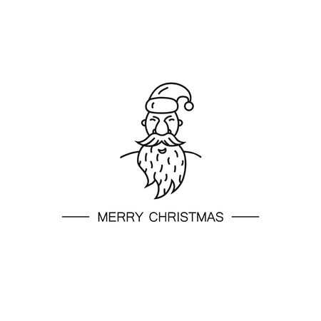Linear modern logotype with Santa Claus. Easy to use business template. Christmas symbol. Banque d'images - 132979418