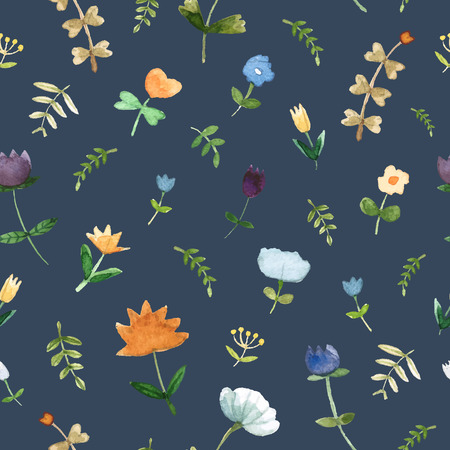 Seamless cute pattern with spring flowers and leafs made in watercolor technique. Bright romantic background with summer flowers in vector. Banque d'images - 125819994