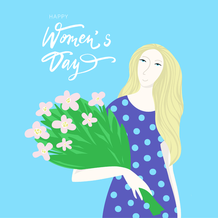Girl with bouquet of flowers. Vector cartoon illustration for women's day holiday. Banque d'images - 125577655