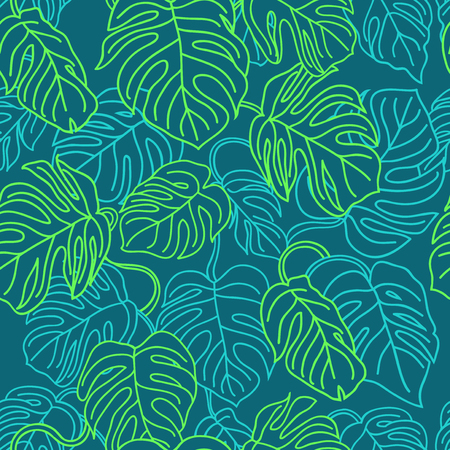 Green monstera leaves pattern - tropical seamless packground for your design. Banque d'images - 123408230