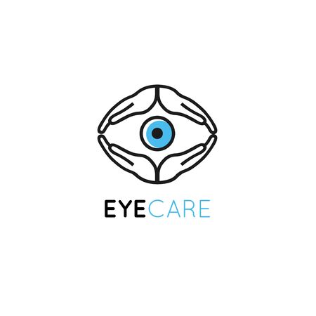 design template in linear style - the eye of the palms. Eye care concept for ophthalmologist clinic and charity center. Banque d'images - 132979578