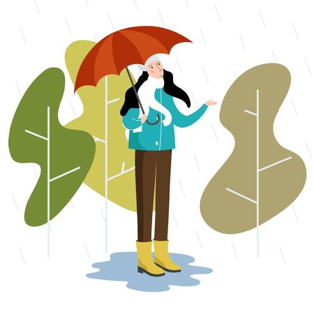 Vector flat style illustration - autumn girl with umbrella stands in the rain - seasonal and weather concept. Banque d'images - 131514484