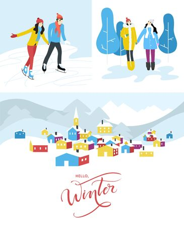 Winter season card templates - snowy city landscapes with cute characters. Flat vector illustrations. Banque d'images - 132545754