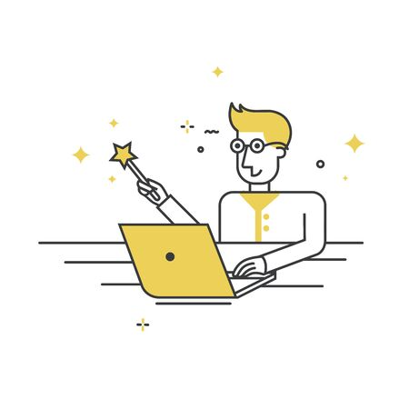 Programmer sitting at a laptop with the magic wand - Vector flat style character - programmer wizard. Banque d'images - 138041928