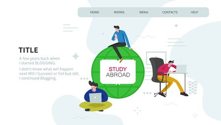 Study abroad concept - flat style illustration of different characters with devices learning distantly.