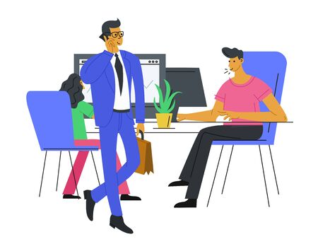 Business People Characters work in office - manager talks on the phone and employees work at the computer. Company teamwork concept