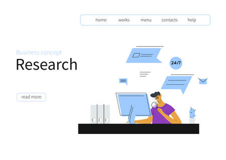 Male character works at a computer with a magnifying glass - recruitment concept. Vector template for web landing page, banner, social media