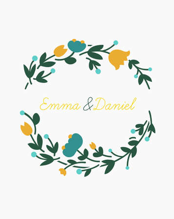 Vector wreath made with branches, leaves and flowers in flat style - lovely romantic frame for wedding invitation, fashion, beauty and jewelry industry. Ilustrace