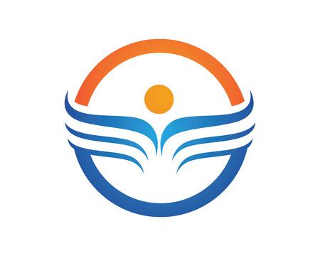 Family care protection love concept symbol icon logo design template Illustration