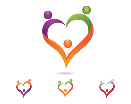 Family care protection love concept symbol icon logo design template Illusztráció