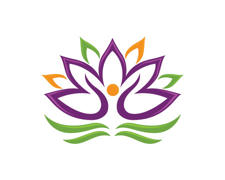 Stylized lotus flower icon vector background