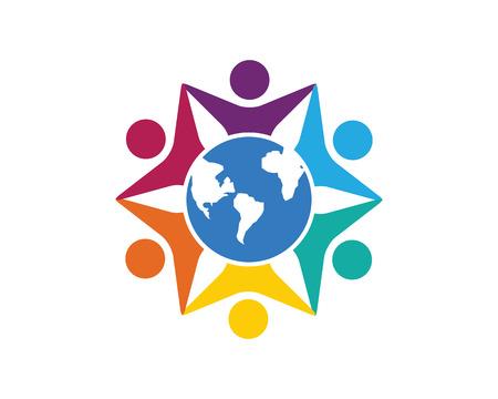 vida social: Logo Community Care vectorial Concepto de compromiso, Unión