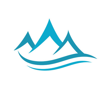 stones in water: Mountain Logo Business Template Vector
