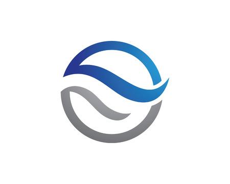 水波アイコン ロゴのテンプレート  イラスト・ベクター素材