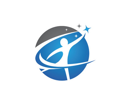 rehab: Fun people Healthy Life icon template Illustration