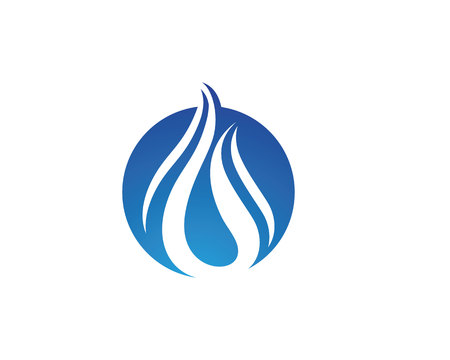 clean water: wave water droplet element icons business logo