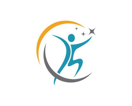 楽しい人々 の健康的な生活のアイコン ロゴのテンプレート