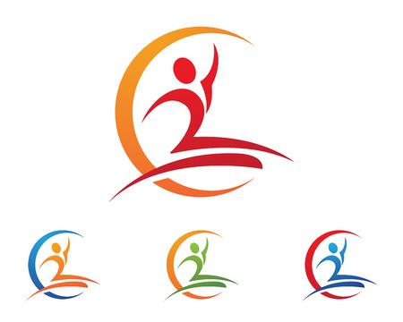 rehab: Fun people Healthy Life icon Logo template Illustration