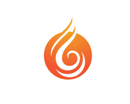 flammable warning: Fire flame Logo Template