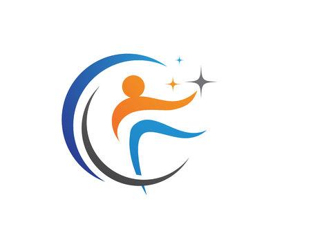 yin y yan: logotipo de la plantilla sana